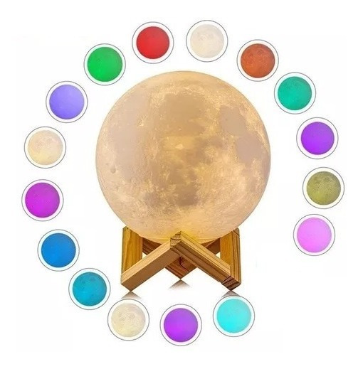Luminária 3d Lua Cheia 15cm Usb - Dia Dos Namorados Original