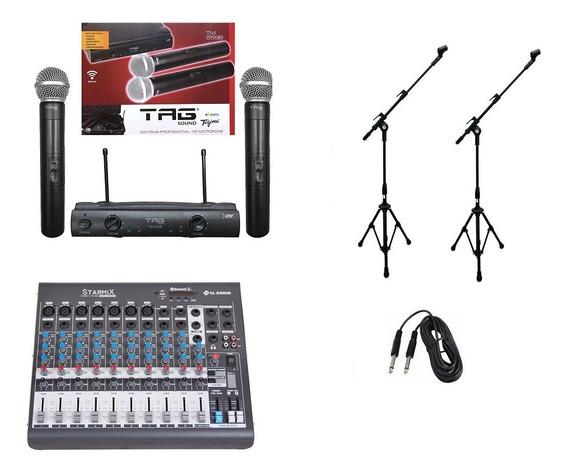 Kit Microfone S/ Fio Tagima Mesa De Som 10 Canais Pedestais