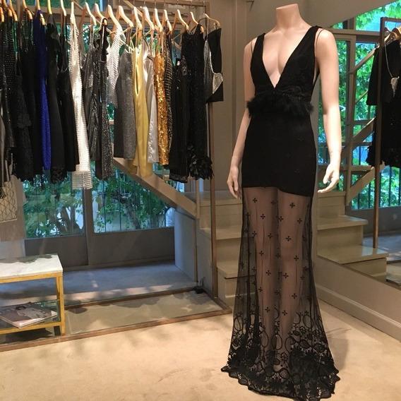 Vestido Negro Plumas