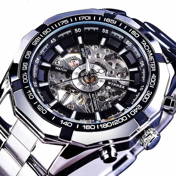 Vencedor Homens Relógio Mecânico Esqueleto Banda De Aço Inox