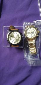 Kit 2 Relógios Pulseiras De Couro E Metal