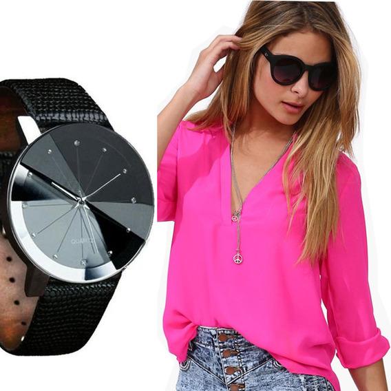 Relógio Feminino Quartz Casual Pulseira Couro Queima Estoque