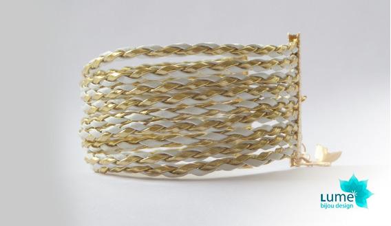 Lume Bijou - Pulseira De Couro Branco E Dourado Folheada