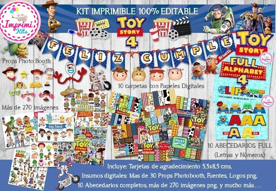 Kit Imprimible Toy Story 4 Forky Candy Bar, Deco