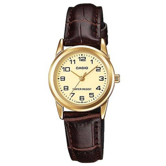 Relógio Casio Feminino Ltp-v001gl 9budf Dourado Couro