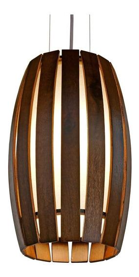 Pendente Barril Pequeno Em Madeira Ø21x33cm 1xe27 Union 118