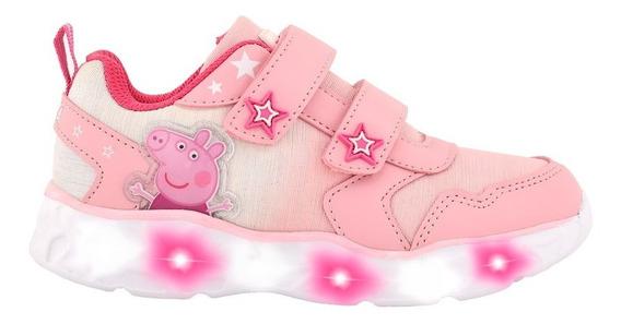 Zapatillas Peppa Pig Estrellas Abrojo Con Luz- Footy Oficial