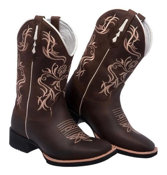 Bota Texana Feminina Rodeio Bordado Bico Quadrado Em Couro