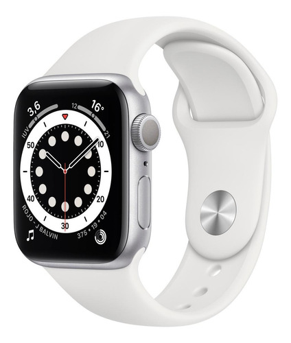 Imagen 1 de 8 de Apple Watch  Series 6 (GPS) - Caja de aluminio plata de 40 mm - Correa deportiva blanco