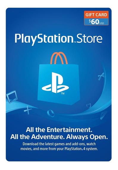 Psn Playstation Ps4 Store 60 Usd Codigo Digital Para Juegos
