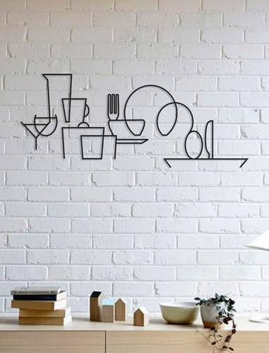 Imagem 1 de 2 de Quadro Decorativo Parede Cozinha Utensílios Minimalista 90cm