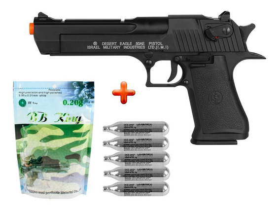 Pistola Airsoft Co2 Desert Eagle .50ae + 5 Co2 + Bbs