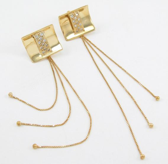 Esfinge Jóias - Brinco Comprido Com Diamantes Ouro 18k 750.