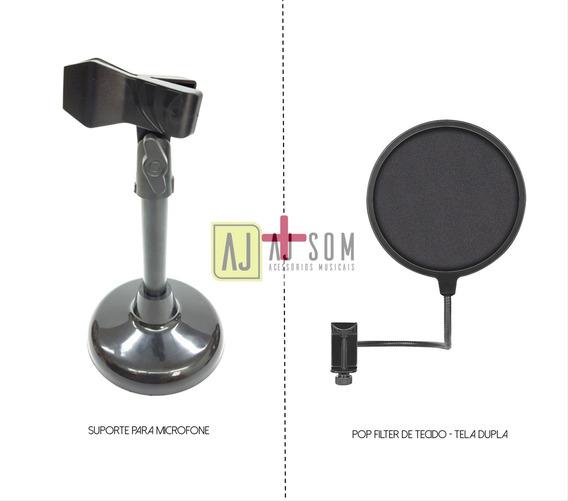 Kit-estante De Microfone+cachimbo+pop Filter 6