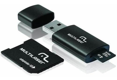 Imagem 1 de 1 de Cartão De Memória Multilaser Microsd C/ Adaptador Sd Mc057