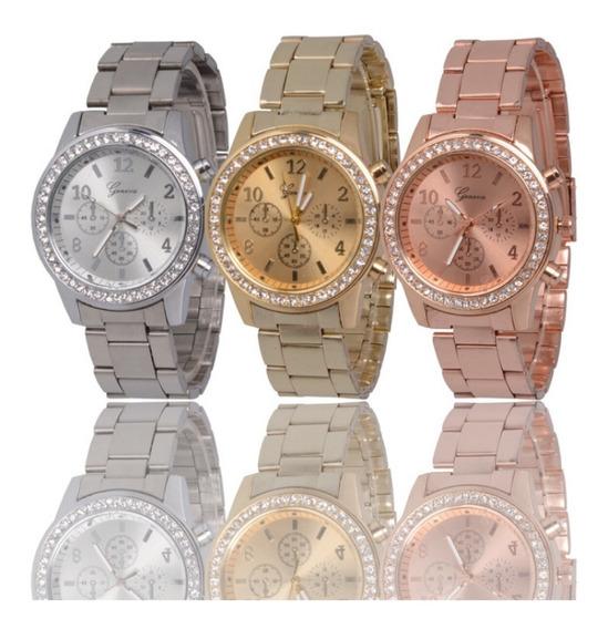 Reloj Dama Geneva Diamante Metalico Elegante Moda Mujer Mayoreo
