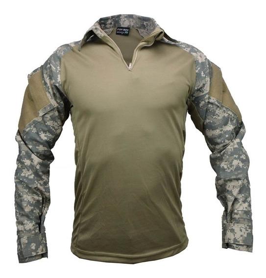 Camisa T-shirt Combat Tatica Militar Camuflado Deserto