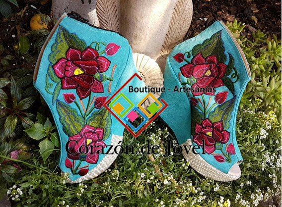 Calzado Bordado,zapatos Con Plataforma/botín!! Artesanales