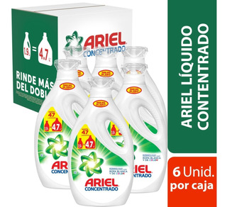 Pack 6 Botellas Detergente Ariel Power Liquid 1,9 Lt