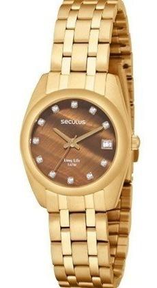 Relógio Seculus Feminino Dourado Marrom 20016lpsbda2 Vitrine