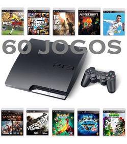 Ps3 Playstation 3 Slim - 60 Jogos Originais - 12x Sem Juros