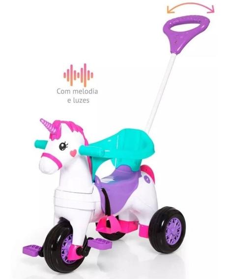 Triciclo Infantil Fantasy Unicornio Empurrador Rosa Calesita