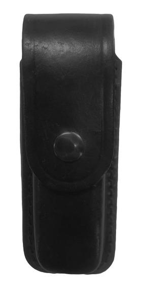 Porta Cargador Simple De Cuero Negro Para Correaje Policial