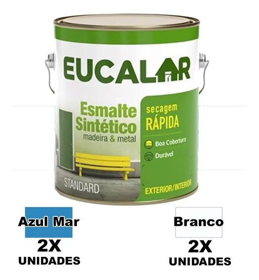 Kit Esmal Sinté Eucalar 2 Azul Mar + 2 Branco 3,6 L Eucatex