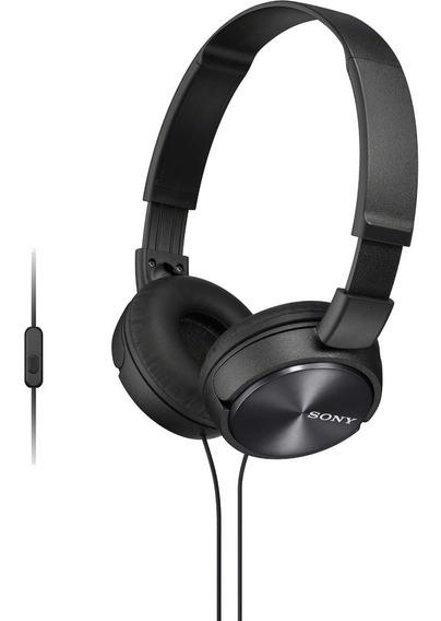 Fone De Ouvido C/microfone Sony Auricular Preto Mdr Zx310 Ap