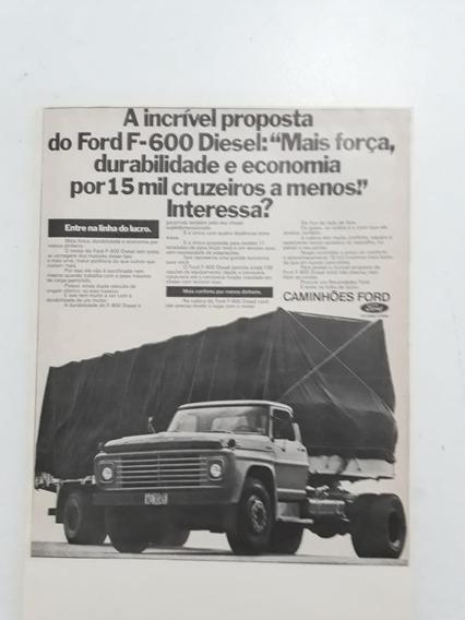 Propaganda Antiga Caminhão Ford F-600 Anúncio Publicidade