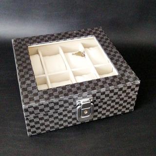 Caja Organizadora 8 Relojes Vidrio Negra
