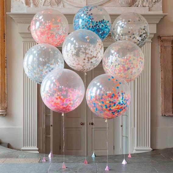 Piñata Transparente C/confetis Y Personalizado 18 65cm