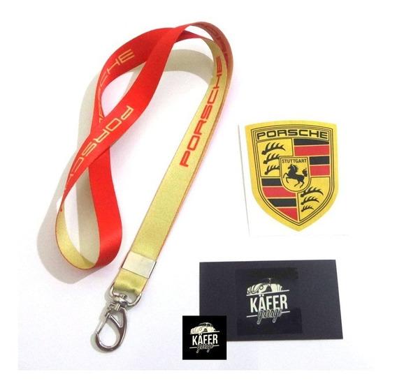 Chaveiro Cordão Porsche Racing + Adesivo - Old School Fusca