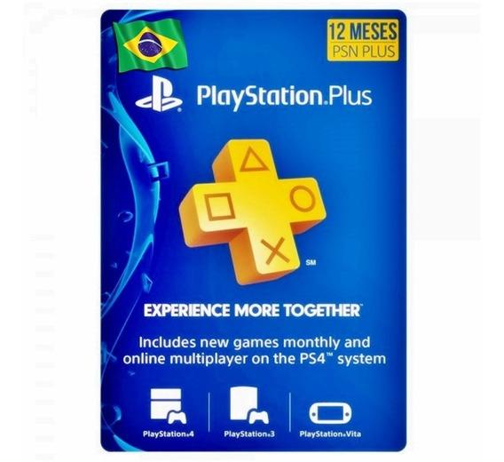 Cartão Psn Playstation Plus 12 Meses 1 Ano Jogue Online Ps4