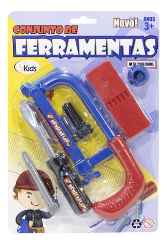 Kit Infantil 5 Peça Marceneiro Parafuso Serra Chave De Fenda