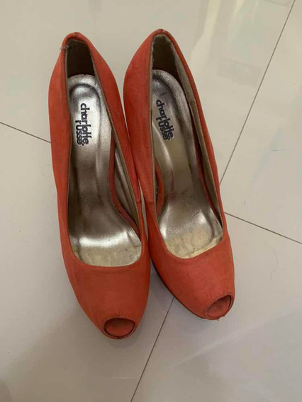 Zapatos De Tacón Color Coral Talla 38