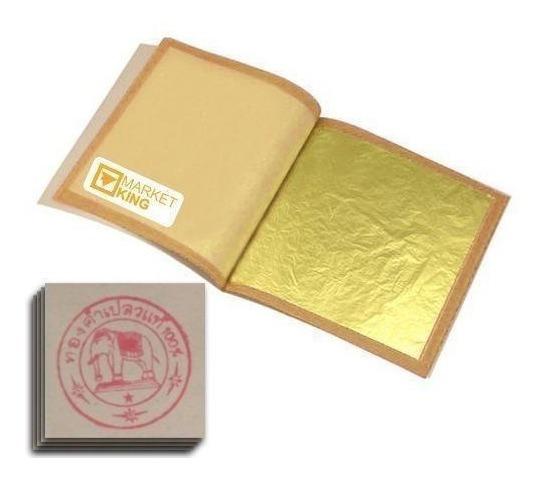 10 Láminas De Oro Comestible 4.3 Cm X 4.3 Cm Mi 5076