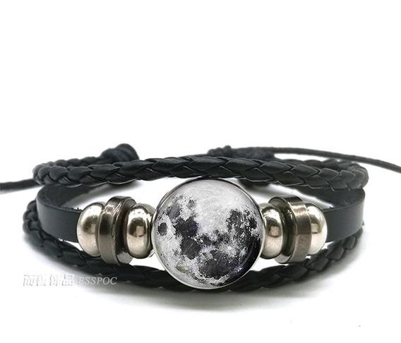 Pulseira Couro Negra Lua Cheia Shambala Full Moon Ajustável + Brinde