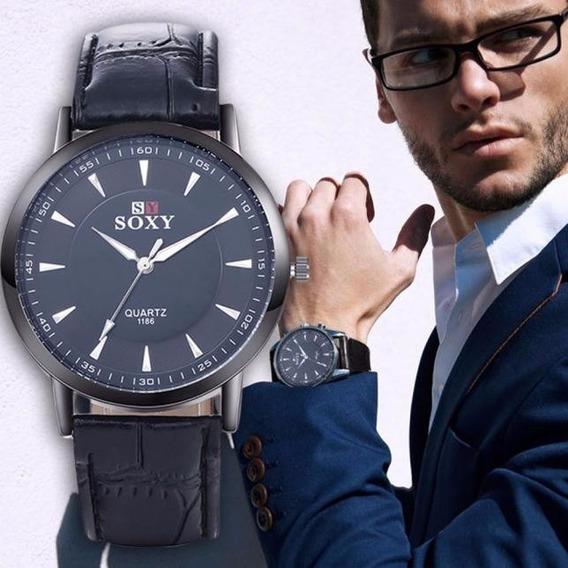 Relógio Barato Quartz Social Masculino Soxy Couro Sintético