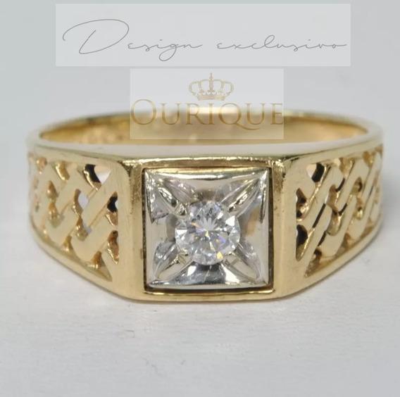 Anel De Ouro 18k Detalhe Trançado Com Diamante E Ouro Branco