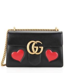 Bolsa Gucci Gg Marmont Original Web Heart 50%off
