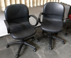 Kit 2 Und. Cadeira Escritório Reunião Flexform Delfo Low Blk