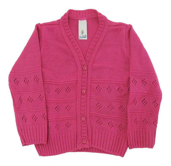 Casaco De Lã Em Tricot Infantil Feminino - 1071c1