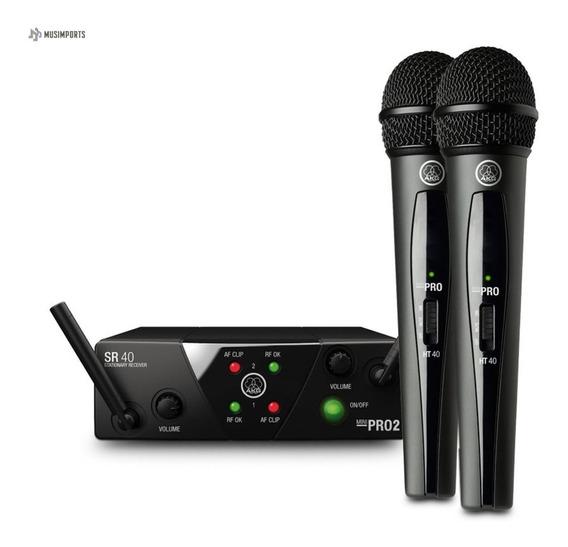 Microfone Duplo S/fio Akg Wms40 Wms 40 Pro Mini Dual Vocal