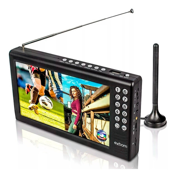 Mini Tv Digital Portatil Lcd 7 Polegadas Suporta 1080p Exbom
