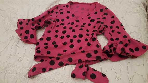 Camisa Flamenco Rosa A Lunares Negros Como Nueva