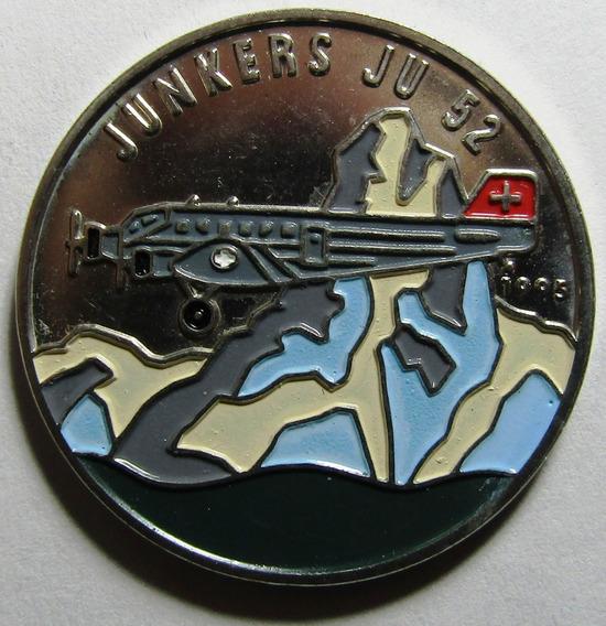 Congo Moneda Esmaltada 100 Francos Unc 1995 - Avion Junkers