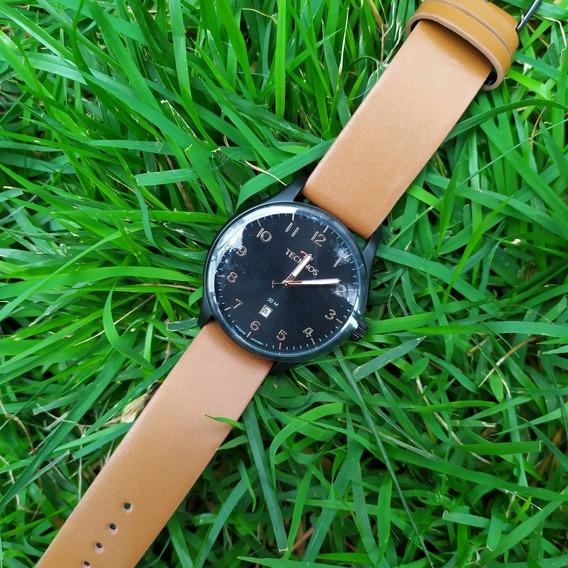 Relógio Masculino De Couro Technos 2115muz C/ Nf Original