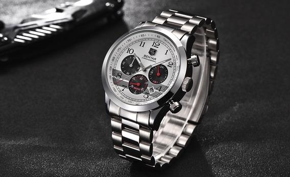 Relógio Masculino Prata Moderno Social Aço Inoxidável Megir