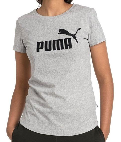 Puma Remera Ess Logo W Gris